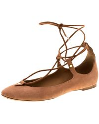 Chloé 'foster' Lace-up Ballet Brown Suede Ballet Flats