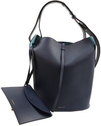 Burberry The Bucket Navy Leather Handbag - Blue