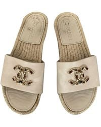 Chanel Leather Mules - Natural