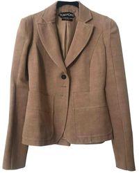 Tom Ford Camel Viscose Jacket - Natural