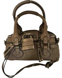 Chloé Paddington Leather Handbag - Grey