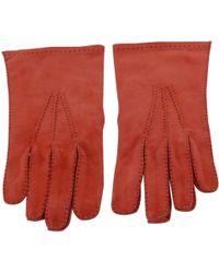 Hermès - Orange Suede Gloves - Lyst