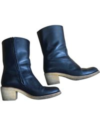 A.P.C. Navy Leather Boots - Blue