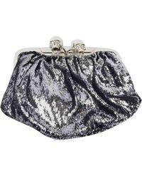 Philipp Plein \n Silver Cloth Clutch Bag - Metallic