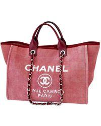 Chanel Sac à main Deauville en Toile Rouge