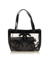 1e0e58cb3d19 Lyst - Chanel Pre-owned Grand Shopping Grey Plastic Handbags in Gray