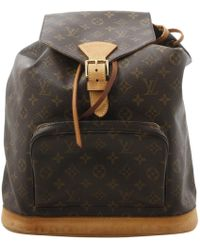 Louis Vuitton - Montsouris Brown Leather Backpacks - Lyst
