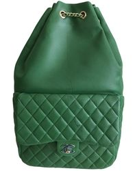 Chanel Timeless/classique Green Leather Backpack
