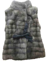 Brunello Cucinelli Grey Mink Leather Jacket - Gray