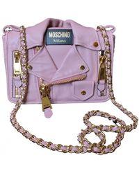 Moschino Biker Leather Crossbody Bag - Purple