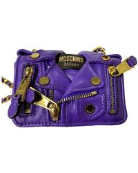 Moschino Biker Purple Leather Handbag
