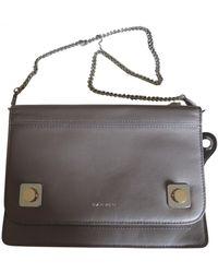 Carven Leather Clutch Bag - Grey