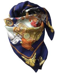 Hermès Echarpe en soie - Bleu