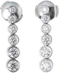 1b9d86785 Van Cleef & Arpels Vintage White Platinum Earrings in White - Lyst