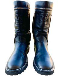 Chanel Leather Biker Boots - Black