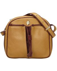 Cartier Pre Owned Vintage C Brown Leather Handbags Lyst