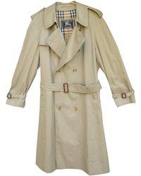 Burberry - Vintage Beige Polyester Coat - Lyst