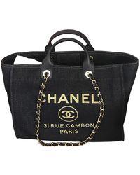 Chanel Borsa a mano in tela blu Deauville