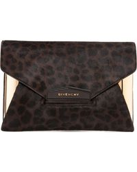Givenchy Kalbsleder In Pony-optik Clutches - Braun