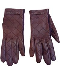 Chanel \n Burgundy Leather Gloves - Purple