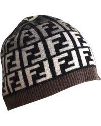 e52867d9748 Fendi - Vintage Brown Wool Hats - Lyst