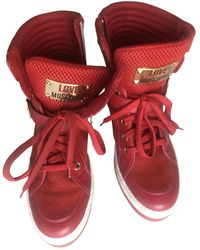 Moschino Leather Biker Boots - Red