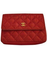 Chanel Pochette de Lona - Rojo