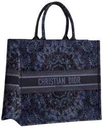 Dior Book Tote Navy Cotton - Blue