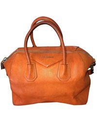 Givenchy Bolsa de mano en cuero naranja Antigona