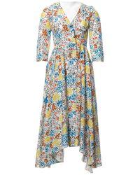 Isa Arfen Multicolour Silk Dress - Blue