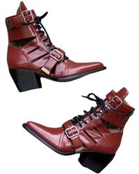 Chloé Rylee Leather Ankle Boots - Multicolour