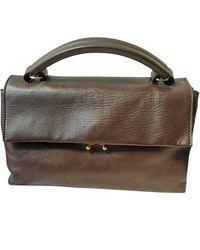 Marni Trunk Leather Handbag - Brown