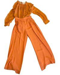 Max Mara Orange Silk Pants