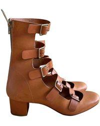 Chloé Beige Leather Sandals - Natural