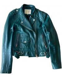 Maje Leather Biker Jacket - Green