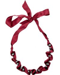 Lanvin - Burgundy Cloth Necklace - Lyst