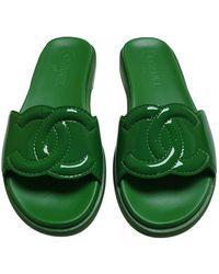 Chanel Sandales en Cuir Vert