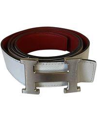 Hermès H Leather Belt - White