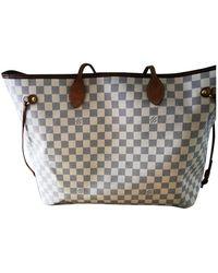 Louis Vuitton Neverfull Leinen Handtaschen - Weiß