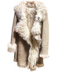 Miu Miu Shearling Coat - Natural