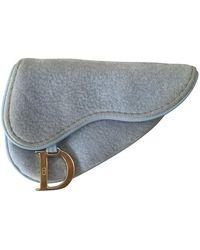 Dior Saddle Blue Velvet Purse/wallet