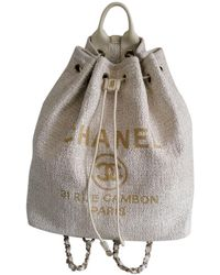 Chanel Deauville Tweed Backpack - Natural