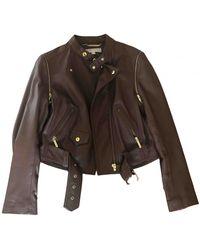 Michael Kors Leather Jacket - Brown