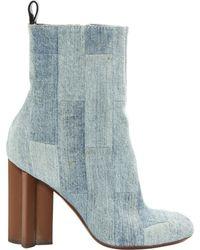 Louis Vuitton Leinen Stiefel - Blau