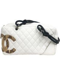 Chanel Cambon Leder Handtaschen - Weiß