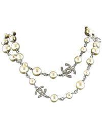 Chanel Collar en perla blanco CC
