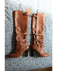 Vanessa Seward Camel Leather Boots - Multicolour