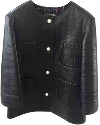 Chanel Cazadora en cuero negro