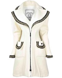 Chanel Ecru Wool Coat - White
