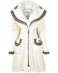 Chanel \n Ecru Wool Coat - White